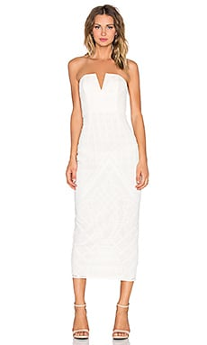 Shona Joy Maddalena Bustier Midi Dress in Ivory