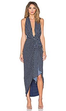 Shona Joy La Nina Cross Front Maxi Dress in Navy & White