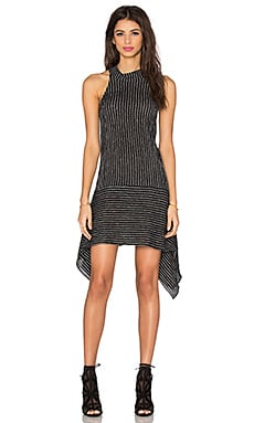 Shona Joy Aristotle Handkerchief Mini Dress in Charcoal & Stripe