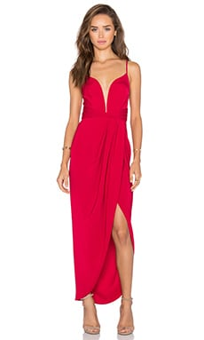 Monique Plunged Cross Back Maxi Dress