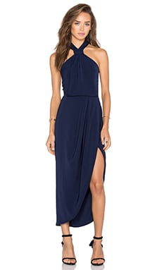 Monique Knot Draped Midi Dress in Navy
