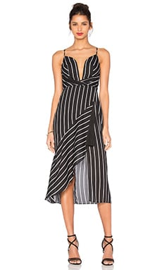 Shona Joy Isabelle Asymmetric Cocktail Dress in Black & White Stripe