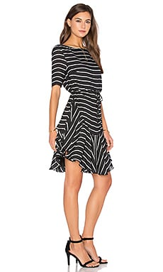 Shona Joy Isabelle Ruffle Shift Dress in Black & White Stripe