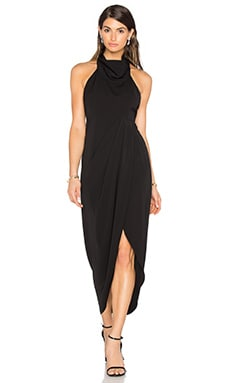 Monique Funnel Neck Backless Maxi Dress en Noir