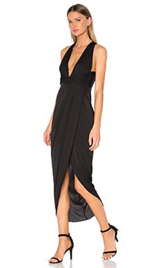 Monique Plunged Twist Maxi Dress en Noir