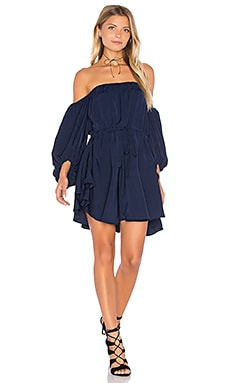 Shona Joy Leticia Off The Shoulder Mini Dress in Navy