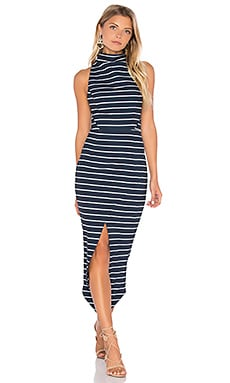 Ria High Neck Midi Dress in Navy & White Stripe