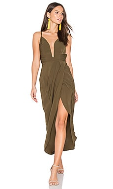 Leticia Plunged Wire Draped Maxi Dress en kaki