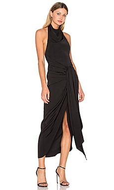 Voltaire Backless Draped Midi Dress in Black