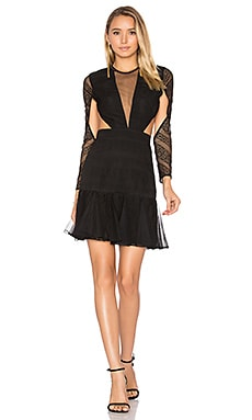 Moliere Long Sleeve Backless Mini Dress in Black