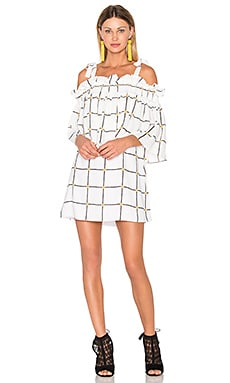 Chateau Frill Mini Dress in White & Multi