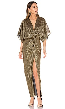 Twist Kimono Maxi Dress in Gold