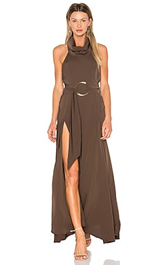 Zelda Funnel Neck Maxi Dress en Deep Olive