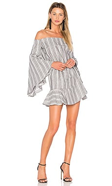 Tortuga Off The Shoulder Mini Dress in Grey & White Stripe