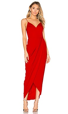 Cocktail Draped Dress in Tomato