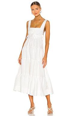 Blanca Lace Up Tiered Midi Dress Shona Joy $320 NEW