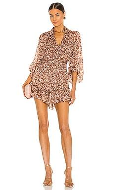 Odette Batwing Ruched Mini Dress Shona Joy $360 NEW