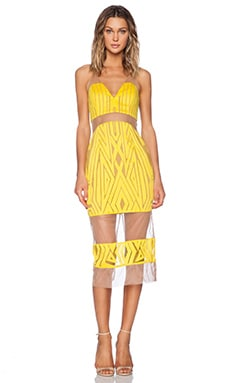 Shona Joy The Desired Cocktail Midi Dress in Yellow