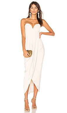 Bustier Draped Maxi Dress in Nude