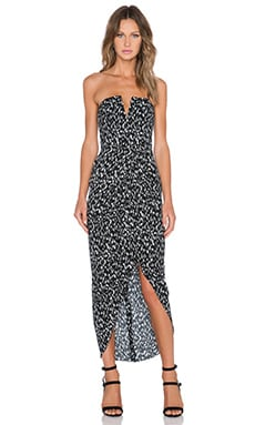 Shona Joy Avalanche Bustier Draped Maxi Dress in Black & White