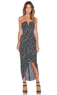 Shona Joy Avalanche Bustier Draped Maxi Dress in Black & White