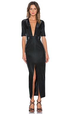 Shona Joy Crystal Valley Plunged Maxi Dress in Black
