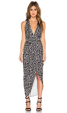 Shona Joy Cala Luna Twist Draped Maxi Dress in Multi & Spot