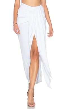 Shona Joy Delfine Draped Midi Skirt in White