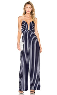 Shona Joy Isabelle Wide Leg Jumpsuit in Navy & White Stripe
