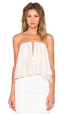 Shona Joy Ambrosia Flared Bustier Top in White & Nude