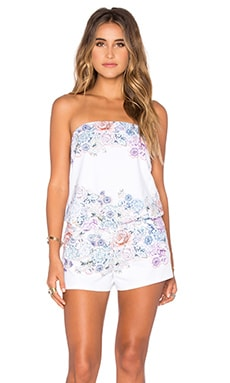 Shoshanna Summer Garden Strapless Romper in White Multi