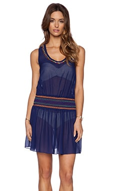 Shoshanna Candy Beading Smocked Tank Dress in Navy
