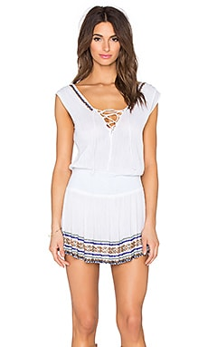 Shoshanna Lace Up Smocked Dress in White