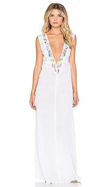 Mixed Media Embroidered Maxi Dress in White Multi