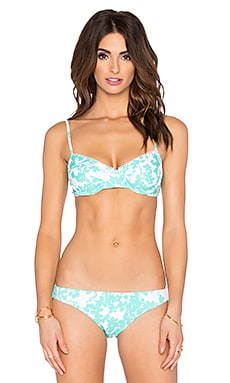 Beach Vine Bra Bikini Top in Mint & White