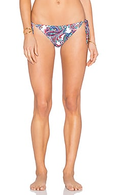 Shoshanna Capri Paisley String Bikini Bottom in White Multi