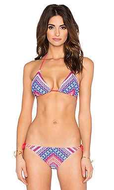 Shoshanna Chevron Tapestry Triangle Bikini Top in Fuchsia Multi