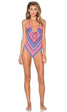 Shoshanna Chevron Tapestry Tie Front Swimsuit in Fuchsia Multi
