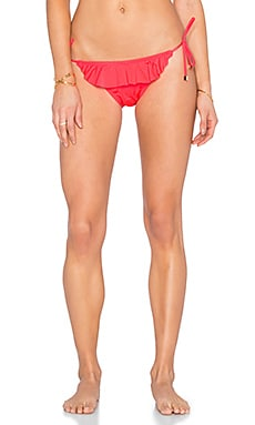 Shoshanna Ruffle String Bikini Bottom in Neon Red