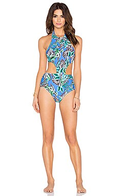 Shoshanna Tropical Palms Sporty Monokini in Blue Multi