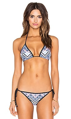 Moroccan Tile Triangle Bikini Top in Blue Multi