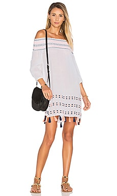 Off Shoulder Tunic in White Multi