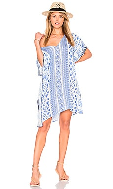 V Neck Caftan in Marine Blue Multi