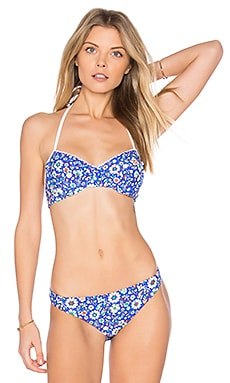 Mosaic Floral Bikini Top in Marine Blue Multi
