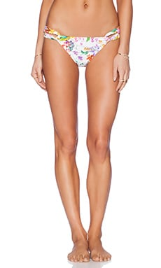 Shoshanna Botanical Floral Loop Bikini Bottom in White Multi
