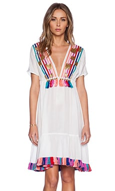 Shoshanna Rainbow Fringe Peasant Dress in White