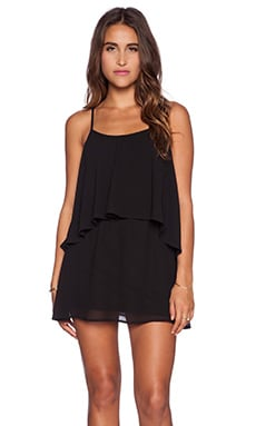 Show Me Your Mumu Dez Drape Dress in Black Chiffon