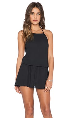 Show Me Your Mumu Hammock Halter Scrunch Waist Dress in Black Crisp
