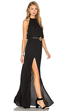 Heather Halter Dress em Black Crisp