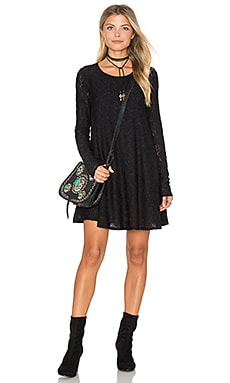 Tyler Tunic Dress in Falling Leaf Lace Black